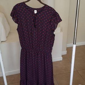 Gap L maxi dress Navy Red and Blue